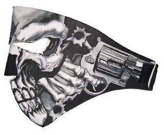 SKULL GUN Neoprene Biker Motorcycle Harley Chopper Mask new