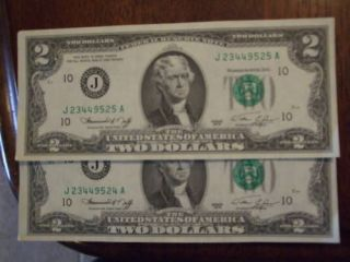 LOT OF2   2 DOLLARS BILLS IN UNCIRCULATED CONDITION