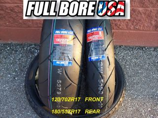 TWO TIRE SET 120/70ZR17 & 180/55ZR17 FULL BORE USA SPORT BIKE