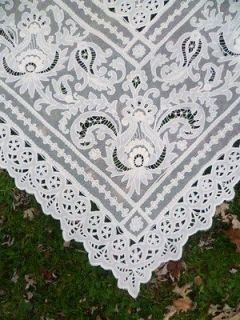 124 VICTORIAN Lace CURTAINS Panels w/ TAMBOUR Stitching