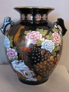 Vintage Black Porcelain Peacock Vase Urn with Handles and Flowers