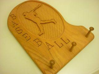 Vintage Carved Baseball Cap Hat Wall Rack   Solid Wood Signed Boy Room