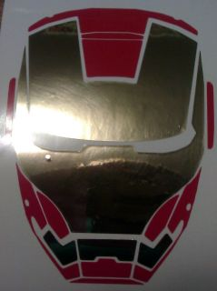 Iron Man or War Machine Avengers Helmet Vinyl Decal w/options Colors