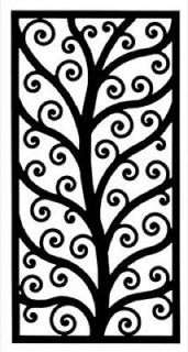 Wrought Iron Rectangular Wall Art Décor Style 202 Black 18 x 35.25