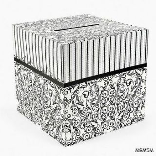 Black and White Wedding Card Box Anniversary Keepsake Gift Card Box