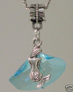 H20 Just Add Water Mermaid Style Blue Glass Crystal Charm Necklace h2o