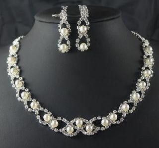 Bridal Bridesmaid Pearl crystal necklace earring Silver Jewelry set