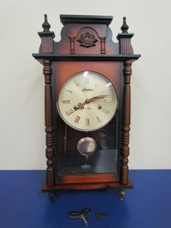 Linden 31 Day Wall Clock   Wood & Glass   Made In Japan