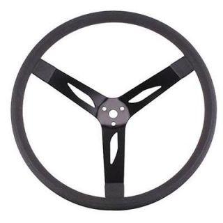 Black Steel 3 Spoke 17 Diameter Cushion Grip Steering Wheel, 3 Dish