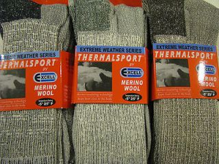 New 6 pair crew Mens warm thermal socks 60% Merino WOOL size 10  13