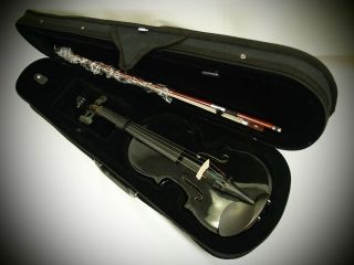Price  1/4 Solid Wood Black Violin(VB320) +Case+Bow+Rosi​n+Free Gift