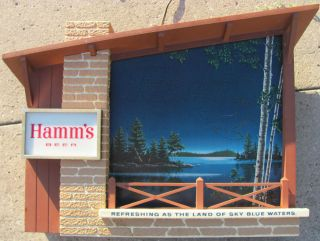 HAMMS BEER HAMMS LIGHTED LARGE STARRY SKIES MOTION SIGN GOOD CONDTION