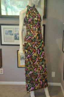 1960s Diana Ross & the Supremes Couture Sequin Halter Dress Costume