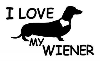 Wiener Dog Vinyl Decal Dachshund heart sticker car truck animal rescue
