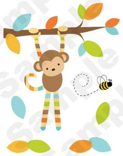 MONKEY BLUE BROWN BABY BOY NURSERY BEE WALL ART MURAL STICKERS DECALS
