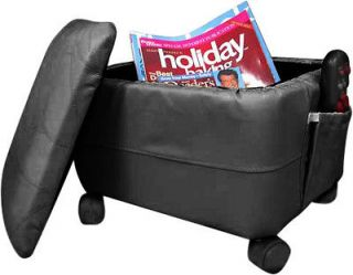Black Faux Leather Storage Hassock Foot Stool