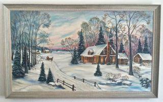 Landscape Oil by Minnesota Grandma Moses Maime Falk Folk Artist
