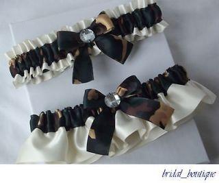 Wedding Garter Set, Camo Garters   Camouflage Garter with Ivory Satin