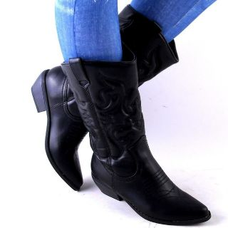 NEW WOMENS BLACK QUILTED CLASSIC WESTERN COWBOY BOOTS SIZE 7.5