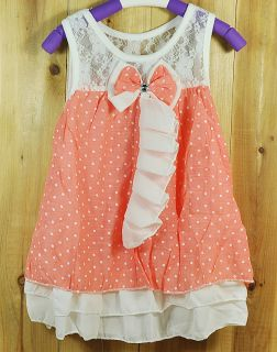 12 24M Fashion infant baby girls dress pink white girl clothing with