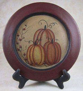 Country Fall Pumpkins Autumn Burg Tan Wooden Plate