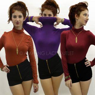 Basic Long Sleeve Turtleneck Top Shirt Womens Basic Wear Stretch Comfy