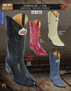Los Altos J Toe Genuine Ostrich Leg Mens Western Cowboy Boots Diff