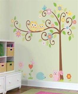 Large Owl Scroll Tree Wall Art Decal Removable Vinyl Stickers Baby