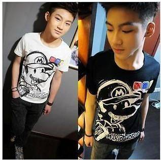 Fashion Mens Super Mario Style Short Sleeve Casual T shirt 2 colors