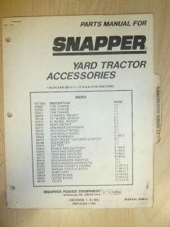 1990 SNAPPER RIDING YARD TRACTORS ACCESSORIES PARTS MANUAL NO. 06614