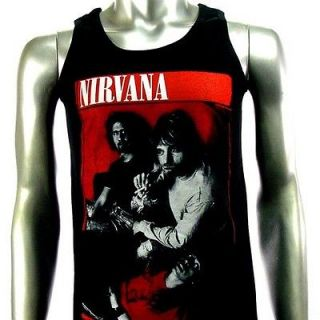 Sz M Nirvana Kurt Cobain T Shirt Tank Top Vest Biker Men Punk Rock V2