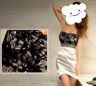 NEW Women Lady Sexy Lace Rivet Graceful Mini Strapless Evening