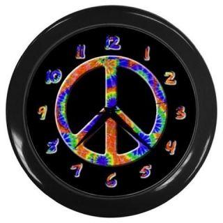 Tie Dye Peace Sign Hippie Black Wall Clock WC04