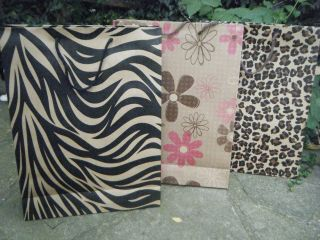 10 or 15 LARGE ANIMAL ZEBRA FLOWER PRINT GIFT PARTY CARRIER BAGS
