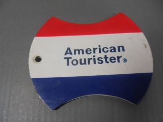 VINTAGE AMERICAN TOURISTER NAME ADDRESS TAG RED WHITE BLUE RETRO