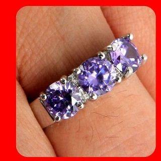 Fashion Jewelry Amethyst White Gold 14K GP engagement ring SIZE 6.5