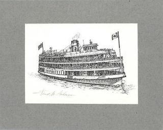 Columbia Boblo Island Boat ORIG Litho MARITIME by Janet Anderson