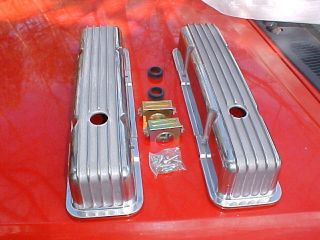 old school finned polished aluminum valve covers,TALL,SB Chevy,street