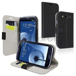 ALL BLACK WALLET POUCH CASE COVER FOR SAMSUNG GALAXY S 3 III S3 PHONE