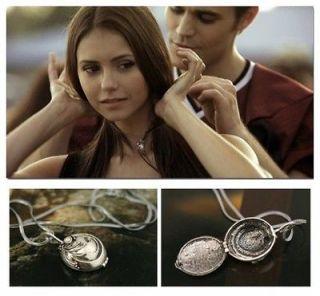 Retro Vampire Diaries Elena Vervain Silver Crystal Charm Box Pendant