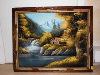 Vintage Framed Black Velvet Painting Country Lakeside Log Cabin Signed