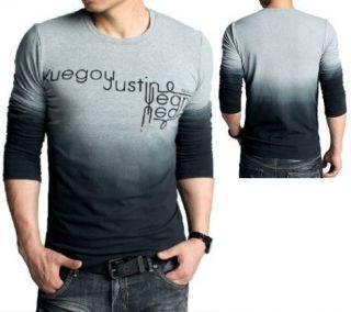 Men's Fashion Gradual change Round neck Cotton Long sleeve T Shirt