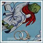 BOOAK Fabric Alexander Henry FROG PJ Sock Green Blue Stripe VTG OOP