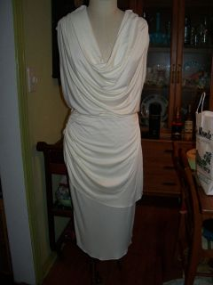 Sexy Draped Low Cut White Grecian Toga Formal Cocktail Dress w