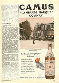 1947 Camus Cognac   Montemartre Photo   Vintage Ad