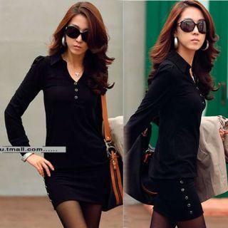 Simple Elegant Womens Solid Mini Dress Long Sleeve Black White Slim