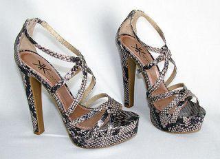 Kim Kardashian Kollection Sz 8 Snakeskin Platform Strappy High Heel