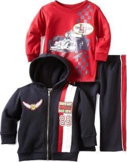 NEW Boys RACE CAR TEAM Size 3T 3pc Hoodie Jacket Shirt Pants Clothes