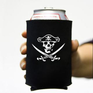 Jolly Roger 2 Beer Soda Can Koozie Koolie Cooler Pirate Skull Swords