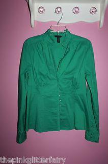 NWOT Banana Republic OUTLET Emerald green ruffle button down shirt